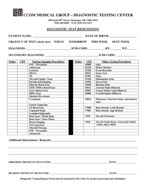 Fillable Online Diagnostic Testing Request Form Jan 2010