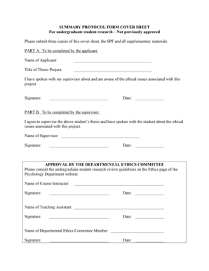 Fillable Online SUMMARY PROTOCOL FORM COVER SHEET For