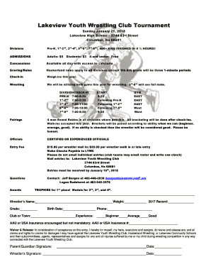 Fillable Online Lakeview Youth Wrestling Club Tournament
