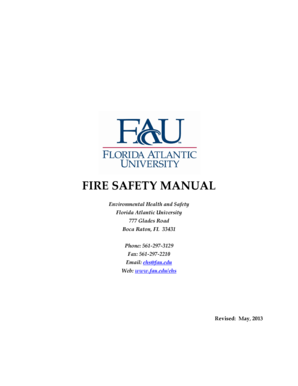 Fillable Online fau FIRE SAFETY MANUAL Environmental