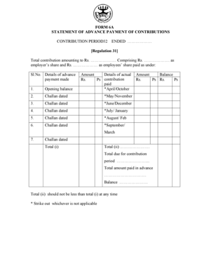 Fillable Online FORM 6A STATEMENT OF ADVANCE PAYMENT OF