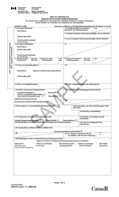 Fillable Online inspection gc HEALTH CERTIFICATE