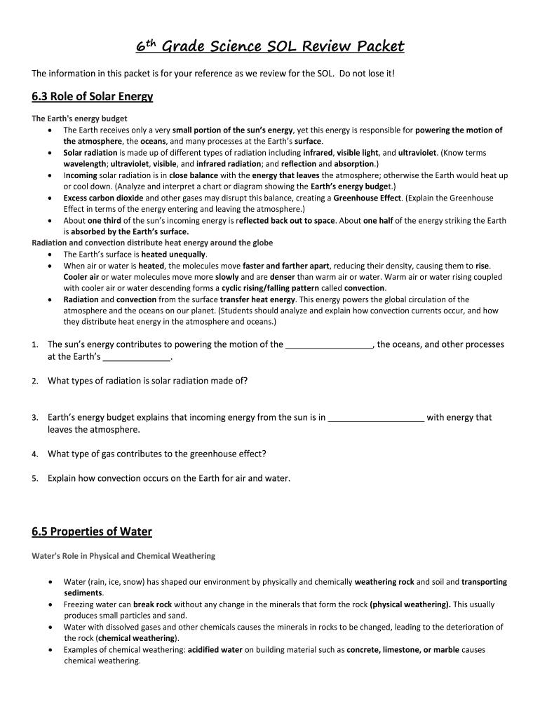 hight resolution of 6th Grade Science - Fill Online