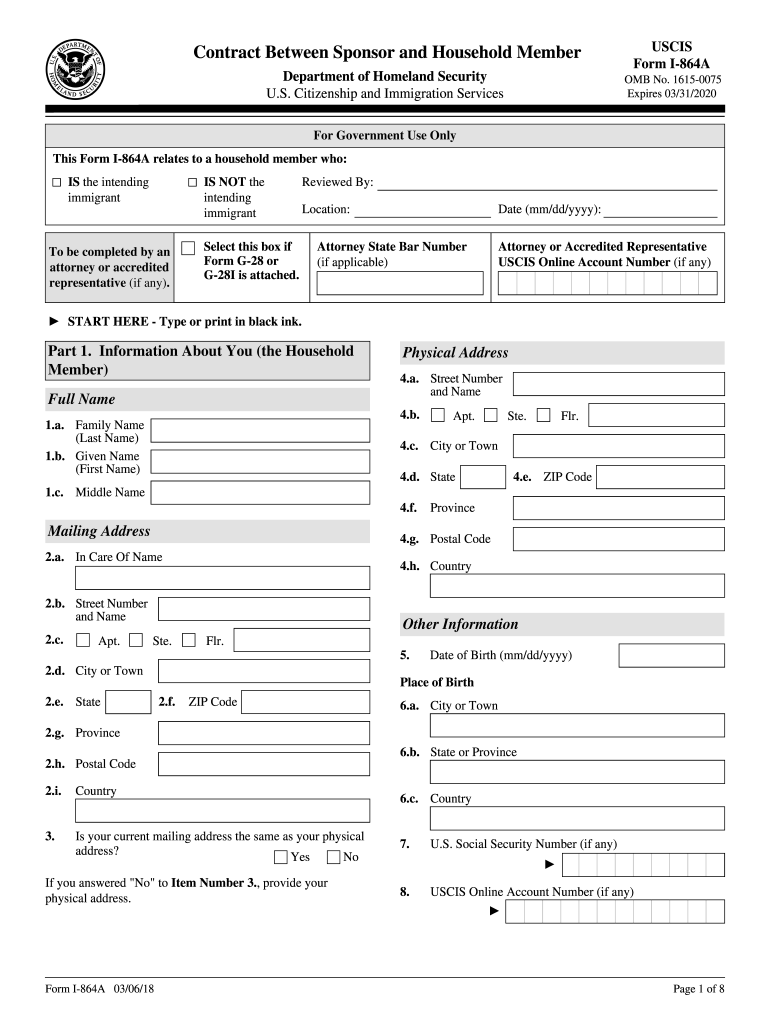 2018 Form USCIS I-864A Fill Online, Printable, Fillable