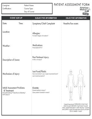 2004 Adventure Medical Kits Patient Assessment Form Fill