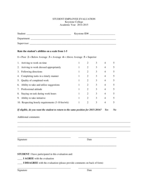 18 Printable student employee evaluation examples Forms