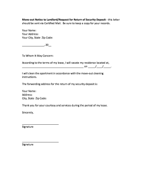 Move Out Letter - Fill Online, Printable, Fillable, Blank | PDFfiller