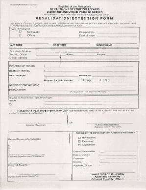 Fillable Online DFA Revalidation Form Fax Email Print