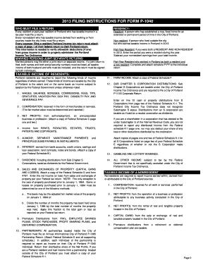 Fillable Online portland-michigan Form P1040 Instructions