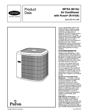 Fillable Online Product Data Air Conditioner with Puron R