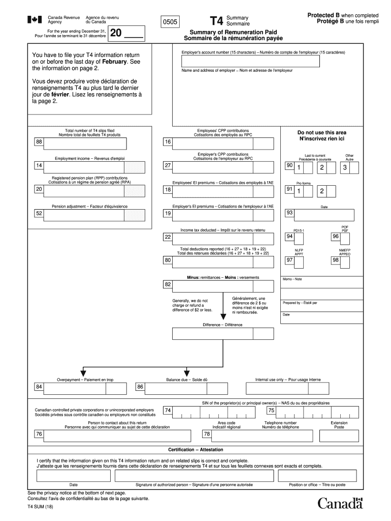 2018-2020 Form Canada T4 summary Fill Online Printable ...