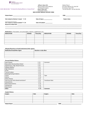 14 Printable simple medical history form Templates