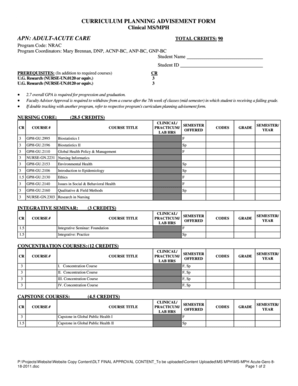 Fillable Online CURRICULUM PLANNING ADVISEMENT FORM