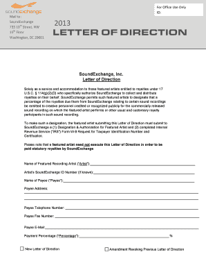Fillable Online 2013 Letter Of Direction Soundexchange Fax Email Print Pdffiller