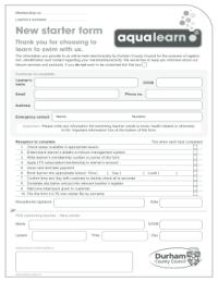 Fillable Online content durham gov Aqualearn New Starter ...