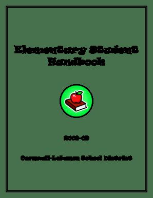 Fillable Online Elementary Student Handbook 200809