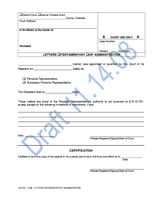 Letters Testamentary Of Administration
