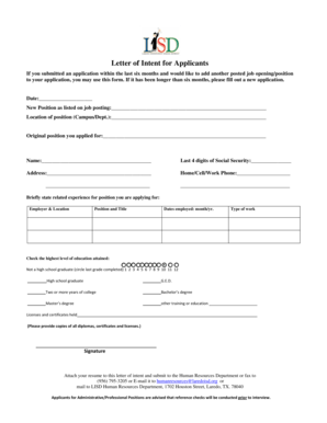 23 Printable Letter Of Intent For Job Forms and Templates