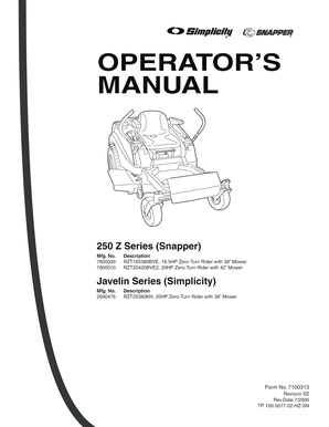 Fillable Online 250 Z Series (Snapper) Fax Email Print