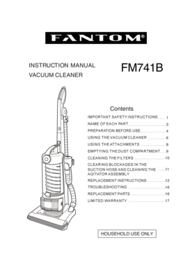 Fillable Online INSTRUCTION MANUAL VACUUM CLEANER FM741B
