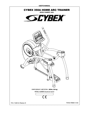 Fillable Online CYBEX 350A HOME ARC TRAINER Fax Email