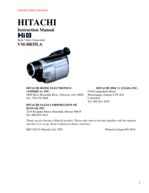 Fillable Online 1997-1998 Hitachi 8mm Camcorders Fax Email