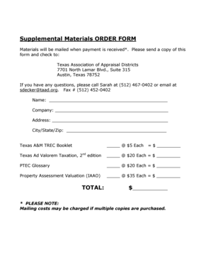 Fillable Online taad Supplemental Materials ORDER FORM TOTAL - Texas ...