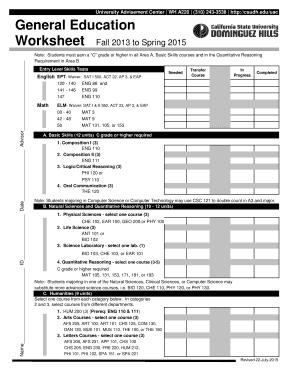 2015-2020 Form CSUDH General Education Worksheet Fill