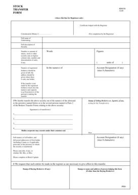 Fillable Online The Reverse of the Stock Transfer Form Fax
