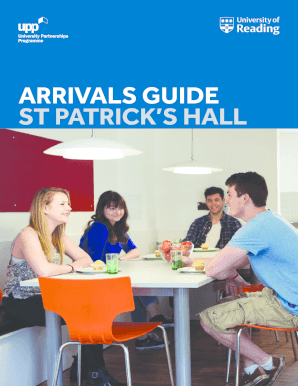 Fillable Online reading ac ARRIVALS GUIDE ST PATRICK'S HALL - University of Reading - reading ac Fax Email Print - PDFfiller