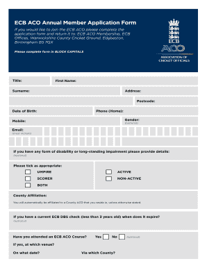 Fillable Online Ecb Aco Annual Member Application Form Fax Email Print Pdffiller