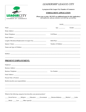 Fillable Online 2011 Leadership League City Application