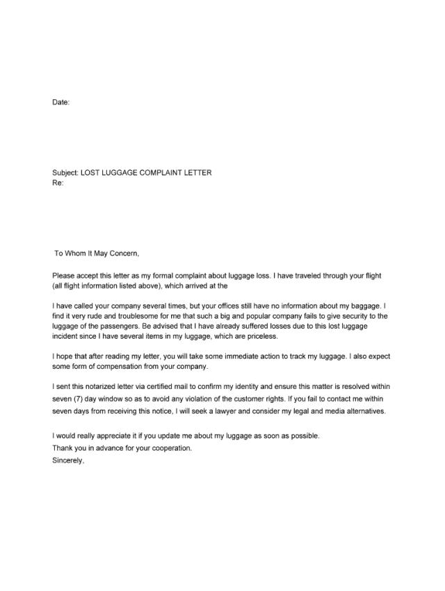 Airline Complaint - Lost Luggage Complaint Letter - iDispute.org