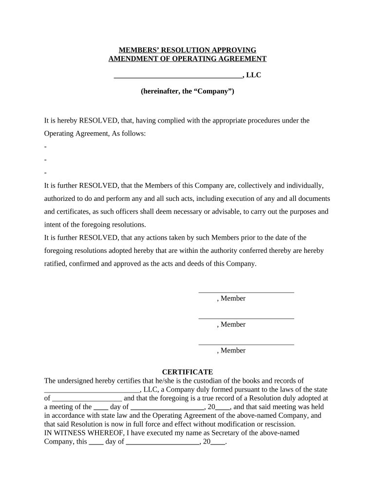 Save the amendment to operating agreement, print, or email it. Amendment Operating Doc Template Pdffiller