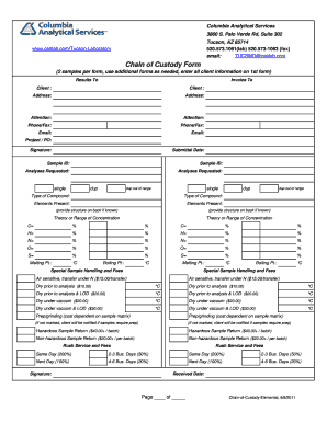 Printable Sample chain of custody form and Document Blanks