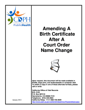 Fillable Online cdph ca Court Order Name Change