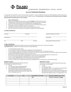 Fillable Online Pulaskitech 12 Verification Worksheet