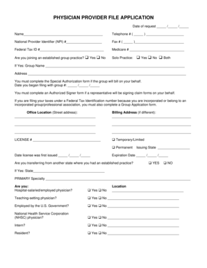 Fillable Online PHYSICIAN PROVIDER FILE APPLICATION