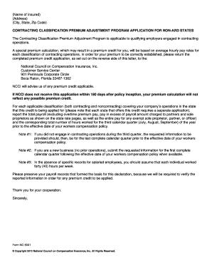Ncci Contracting Classification Premium Adjustment Online