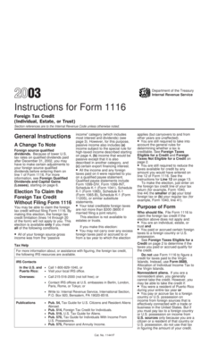 Fillable Online 2003 Instructions for Form 1116. Foreign