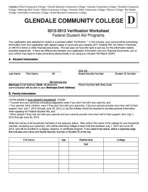 Glendale Community College Dependent Verification