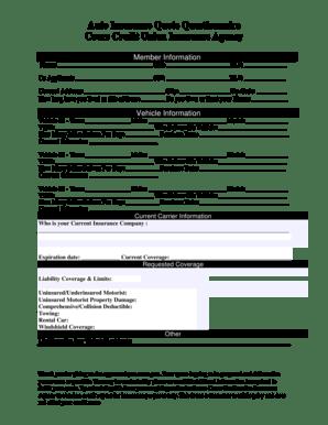 Fillable Online Coorscu Bauto Insuranceb Quote Questionnaire Coors Credit Union Coorscu Fax Email Print Pdffiller