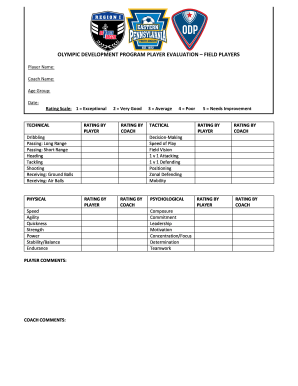 Fillable Online epysa ODP PLAYER EVALUATION FORM 20104