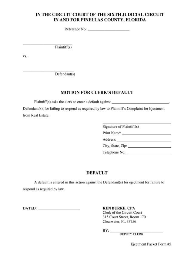 FL Motion for Clerks Default - Pinellas County - Complete Legal