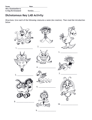 Fillable Online Dichotomous Key LAB Activity Fax Email