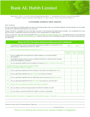 Fillable Online Customer Satisfaction Survey Form Bank Al Habib Limited Fax Email Print Pdffiller