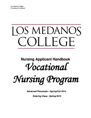 Fillable Online losmedanos Nursing Applicant Handbook