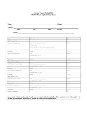 Fillable Online NEW Warm Up Suit Order Form Fax Email