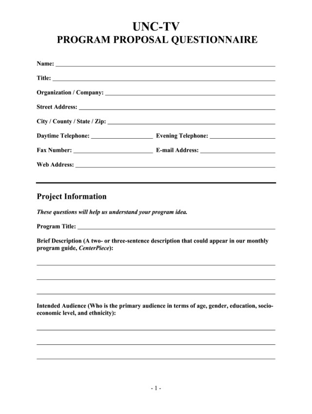 Tv Program Proposal Sample Pdf - Fill Online, Printable, Fillable
