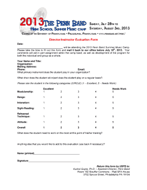 Band Camp Evaluation Form  Fill Online Printable Fillable Blank  PDFfiller
